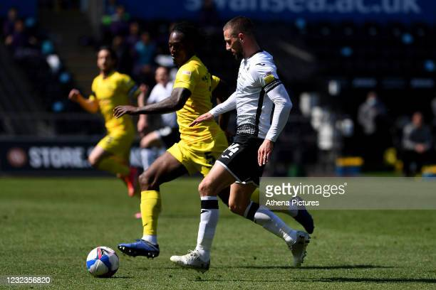 Conor Hourihane of Swansea City in action during the Sky Bet Championship match Swansea City and Wycombe Wanderers at Liberty Stadium on April 17,...