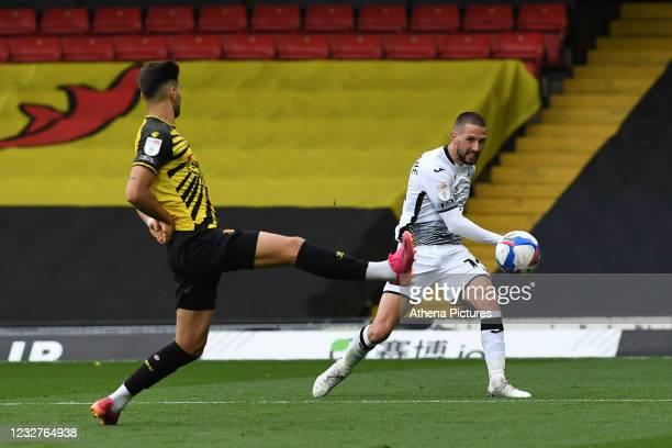 Conor Hourihane of Swansea City in action during the Sky Bet Championship match between Watford and Swansea City at Vicarage Road on May 08, 2021 in...