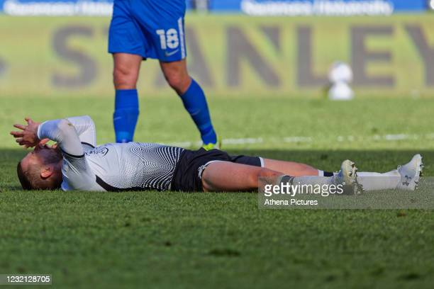 Conor Hourihane of Swansea City lays on the ground in disappointment during the Sky Bet Championship match between Swansea City and Preston North End...