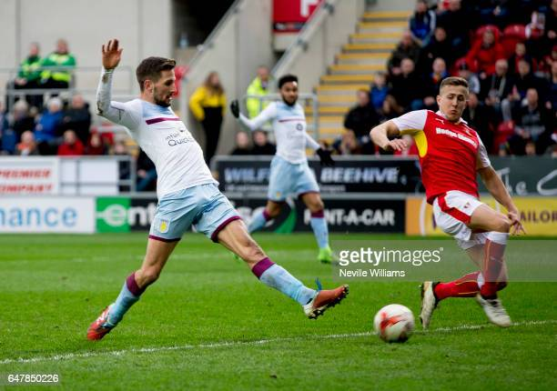 Conor Hourirane of Aston Villa scores for Aston Villa during the Sky Bet Championship match between Rotherham United and Aston Villa at the New York...