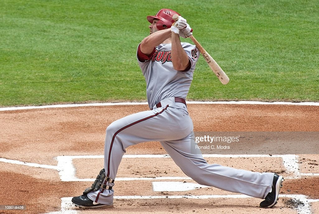 Conor Jackson #34 of the Arizona Diamondbacks bats during a MLB game against the Florida Marlins in Sun Life Stadium on May 18, 2010 in Miami, Florida.