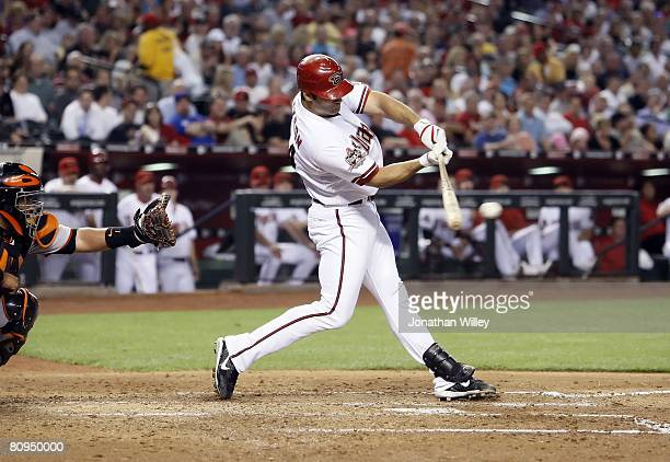 Conor Jackson of the Arizona Diamondbacks hits during the game against the San Francisco Giants at Chase Field in Phoenix Arizona on April 21 2008...
