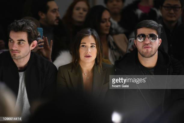 Conor Kennedy Danielle Bernstein and Andrew Warren attend the Taoray Wang front row during New York Fashion Week The Shows at Gallery II at Spring...