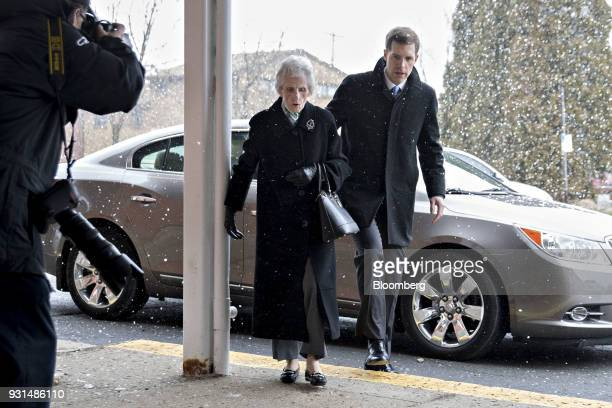 Conor Lamb Democratic candidate for the US House of Representatives brings his grandmother Barbara Lamb into the Our Lady of Victory Church polling...
