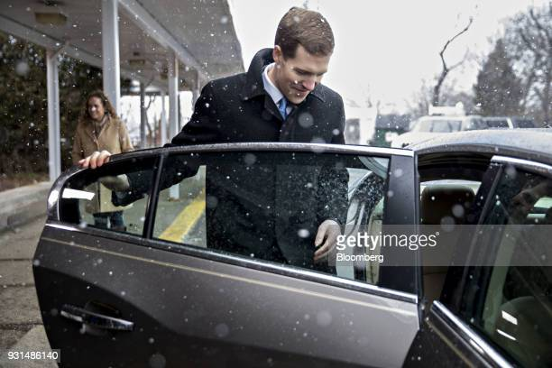 Conor Lamb Democratic candidate for the US House of Representatives gets into his vehicle outside the Our Lady of Victory Church polling location in...