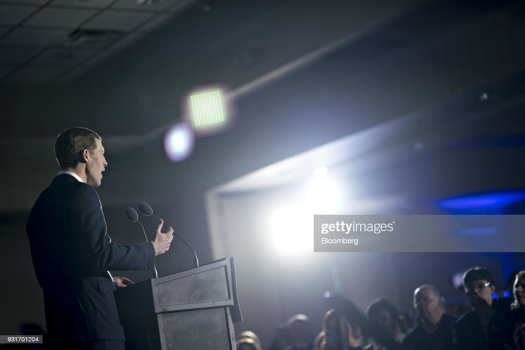 Conor Lamb, Democratic candidate for the U.S. House of Representatives, speaks during an election night rally in Canonsburg, Pennsylvania, U.S., on Wednesday, March 14, 2018. Lamb and Republican Rick Saccone were locked in a tight contest for a House seat in Pennsylvania that may be a bellwether for the fall elections that will decide control of Congress. Photographer: Andrew Harrer/Bloomberg via Getty Images