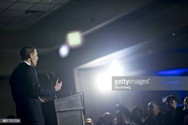 Conor Lamb Democratic candidate for the US House of Representatives speaks during an election night rally in Canonsburg Pennsylvania US on Wednesday...