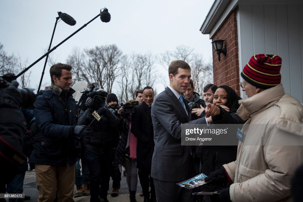 Conor Lamb, Democratic Congressional candidate for Pennsylvania's 18th district, arrives at his polling station at First Church of Christ, March 13, 2018 in Mt. Lebanon, Pennsylvania. Voters head to the polls today as Lamb is running in a tight race for the vacated seat of Congressman Tim Murphy against Republican candidate Rick Saccone.