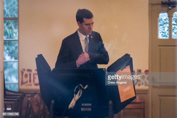 Conor Lamb Democratic congressional candidate for Pennsylvania's 18th district votes at his polling station at First Church of Christ March 13 2018...