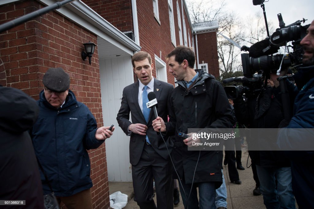 Conor Lamb, Democratic congressional candidate for Pennsylvania's 18th district, speaks to reporters after voting at his polling station at First Church of Christ, March 13, 2018 in Mt. Lebanon, Pennsylvania. Voters head to the polls today as Lamb is running in a tight race for the vacated seat of Rep. Tim Murphy (R-PA) against Republican candidate Rick Saccone.
