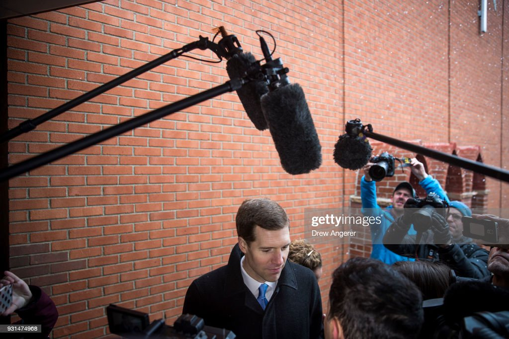 Conor Lamb, Democratic congressional candidate for Pennsylvania's 18th district, speaks to reporters after escorting his grandmother Barbara Lamb to her polling station at Our Lady of Victory Church, March 13, 2018 in Carnegie, Pennsylvania. Voters head to the polls today as Lamb is running in a tight race for the vacated seat of Rep. Tim Murphy (R-PA) against Republican candidate Rick Saccone.