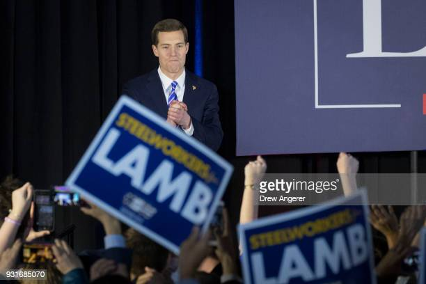 Conor Lamb Democratic congressional candidate for Pennsylvania's 18th district speaks to supporters at an election night rally March 14 2018 in...