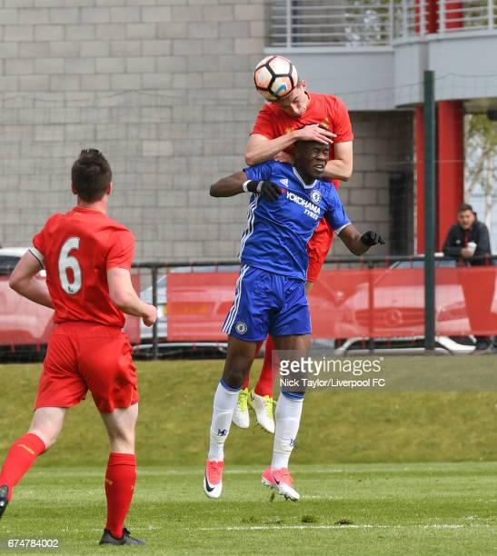 Conor Masterson of Liverpool and Ike Ugbo of Chelsea in action during the Liverpool v Chelsea U18 Premier League game at The Kirkby Academy on April...