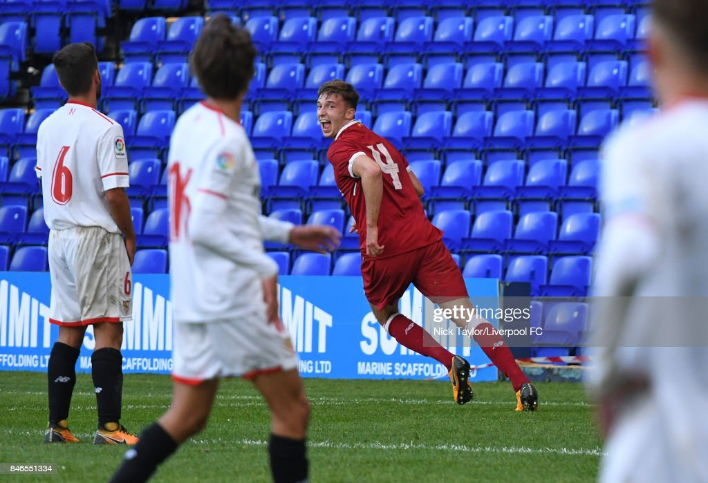 Conor Masterson of Liverpool celebrates after scoring the fourth goal for Liverpool during the UEFA Champions League group E match between Liverpool FC and Sevilla FC at Prenton Park on September 13, 2017 in Birkenhead, United Kingdom.