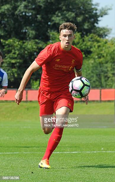 Conor Masterson of Liverpool in action during the Liverpool v Blackburn U18 game at the Kirkby Academy on August 15 2016 in Kirkby England