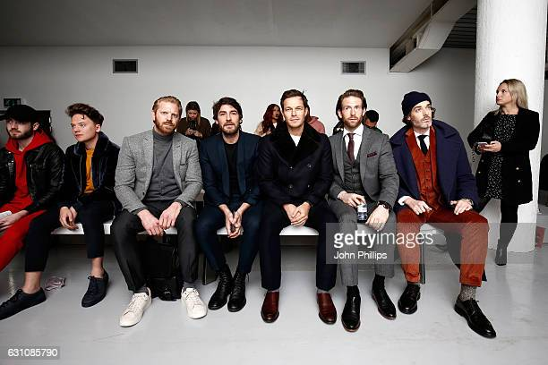 Conor Maynard Alistair Guy Robert Konjic Paul Sculfor Craig McGinlay and guest attend the Bobby Abley show during London Fashion Week Men's January...
