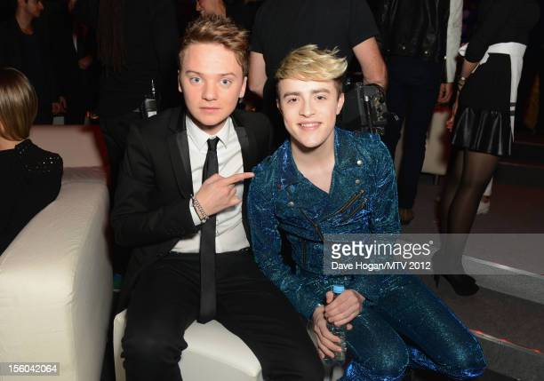 Conor Maynard and Jedward pose in the VIP Glamour area at the MTV EMA's 2012 at Festhalle Frankfurt on November 11 2012 in Frankfurt am Main Germany