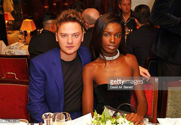 Conor Maynard and Leomie Anderson attend the launch of the Annabel's Smoking Jacket by Casely Hayford at Annabel's on October 12, 2016 in London,...