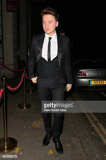 Conor Maynard attend Conor Maynard and Kelly Brook's birthday celebrations at Steam and Rye on November 23 2013 in London England