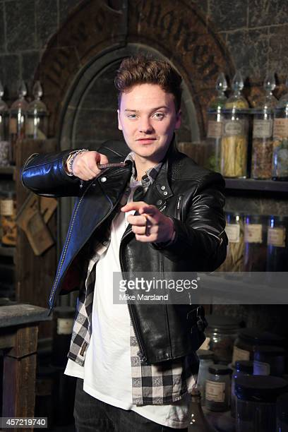 Conor Maynard attends the launch of the first new permanent feature devoted to The Dark Arts at Warner Bros Studio Tour London on October 14 2014 in...