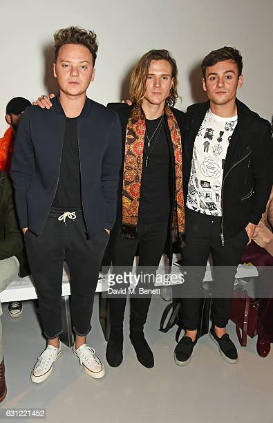 Conor Maynard Dougie Poynter and Tom Daley attend the Christopher Raeburn show during London Fashion Week Men's January 2017 collections at BFC Show...