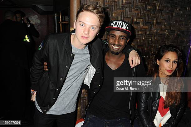 Conor Maynard Mason Smillie and Preeya Kalidas pose for a picture as they celebrate Rita Ora's performance at Scala in the Club Ciroc VIP area at...
