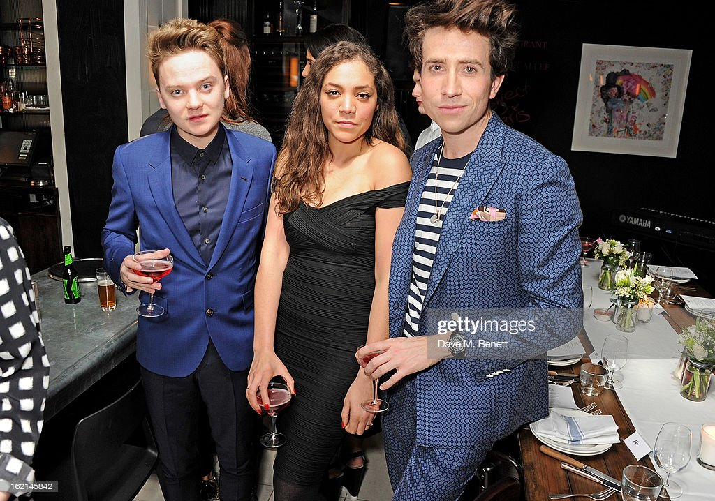 Conor Maynard, Miquita Oliver and Nick Grimshaw attend as Nick Grimshaw hosts his first annual award season dinner at Hix, in association with Philips Sound, on February 19, 2013 in London, England.