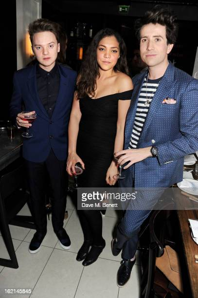 Conor Maynard Miquita Oliver and Nick Grimshaw attend as Nick Grimshaw hosts his first annual award season dinner at Hix in association with Philips...