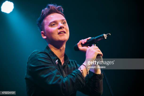 Conor Maynard performs for the Pre Brit Awards 2014 Celebration Concert at Brooklyn Bowl on February 18 2014 in London United Kingdom