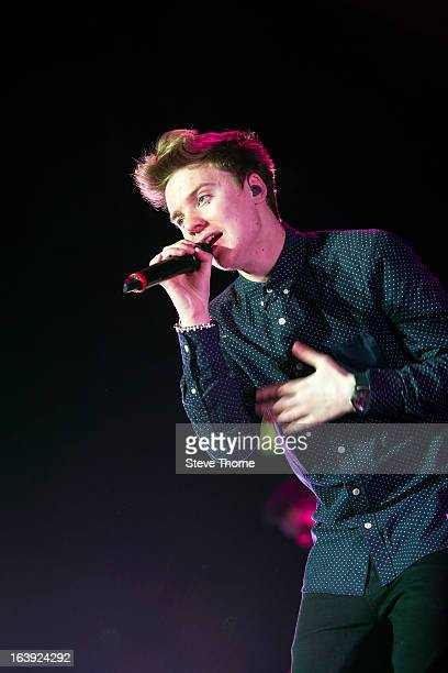 Conor Maynard performs on stage at LG Arena on March 14, 2013 in Birmingham, England.