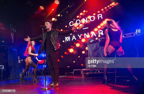 Conor Maynard performs on stage with 2 danfers at Heaven on April 18 2015 in London United Kingdom