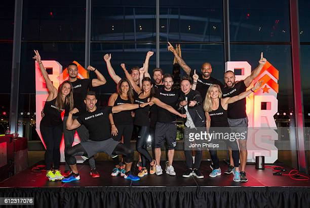 Conor Maynard with Barry's Bootcamp trainers ahead of Barry's Bootcamp workout session in the sky to support Stand Up To Cancer at The Sky Garden on...