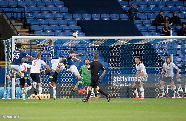 Conor McAleny of Everton scores his sides second goal during the Checkatrade Trophy group match between Bolton Wanderers and Everton under23s at...