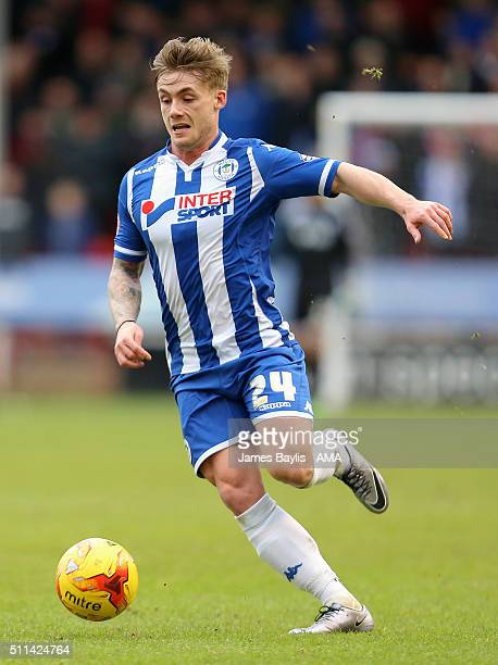 Conor McAleny of Wigan Athletic during the Sky Bet League One match between Walsall and Wigan Athletic at Bescot Stadium on February 20 2016 in...