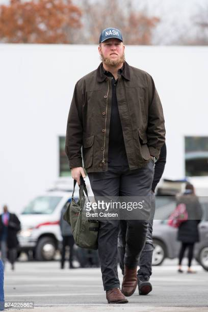Conor McDermott of the Buffalo Bills walks into New Era Field before the game between the Buffalo Bills and the New Orleans Saints on November 12...
