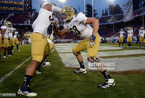 Conor McDermott of the UCLA Bruins warms up during pregame warm ups before playing the Stanford Cardinal in the Pac12 Championship Game at Stanford...