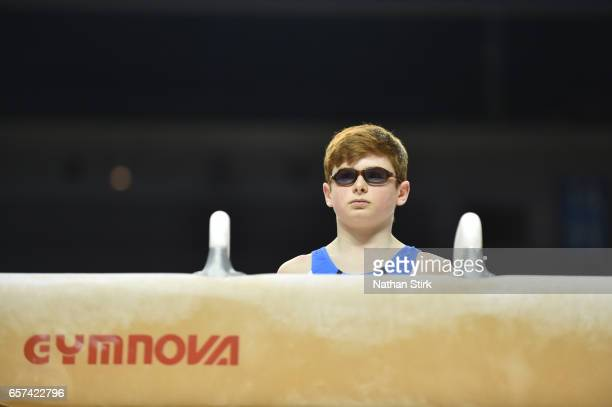Conor McGrath of Nottingham Gymnastics looks on before he competes on the Pomme during the British Gymnastics Championships at the Echo Arena on...