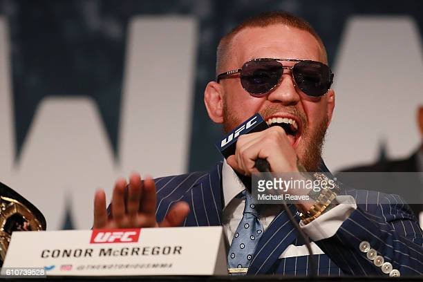 Conor McGregor addresses the media at the UFC 205 press conference at The Theater at Madison Square Garden on September 27 2016 in New York City