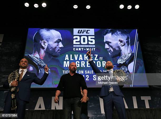 Conor McGregor and Eddie Alvarez faceoff at the UFC 205 press conference at The Theater at Madison Square Garden on September 27 2016 in New York City