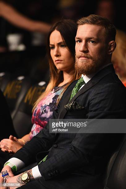 Conor McGregor and his girlfriend in attendance during the UFC 183 event at the MGM Grand Garden Arena on January 31 2015 in Las Vegas Nevada