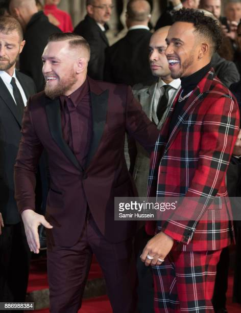 Conor McGregor and Lewis Hamilton attend The Fashion Awards 2017 in partnership with Swarovski at Royal Albert Hall on December 4 2017 in London...