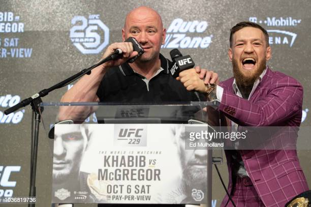Conor McGregor and UFC president Dana White speak at the UFC 229 press conference at Radio City Music Hall on September 20, 2018 in New York City....