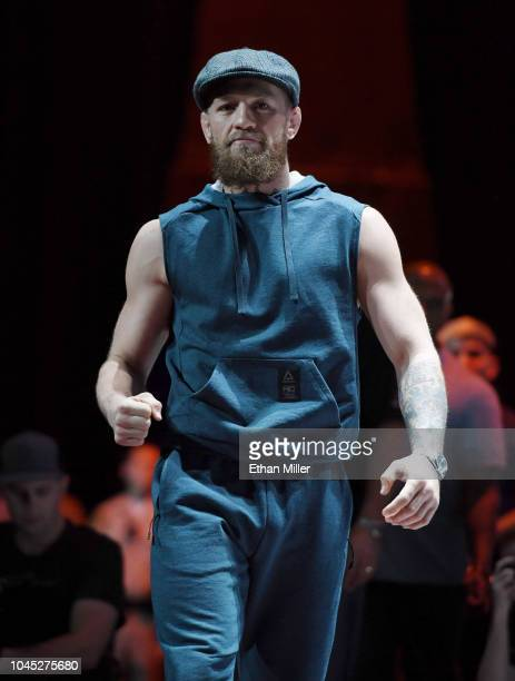 Conor McGregor arrives at an open workout for UFC 229 at Park Theater at Park MGM on October 03 2018 in Las Vegas Nevada McGregor will challenge UFC...