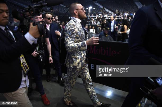 Conor McGregor attends a news conference after Mayweather defeated Conor McGregor by 10thround TKO in their super welterweight boxing match at...