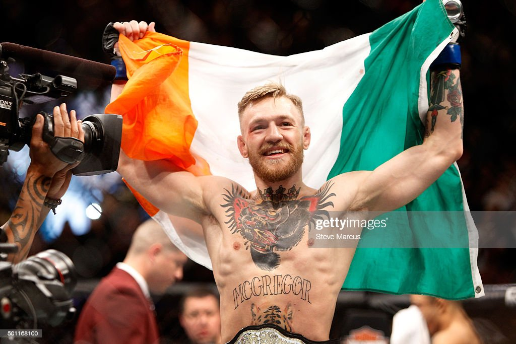 Conor McGregor celebrates after a first-round knockout victory over Jose Aldo in their featherweight title fight during UFC 194 on December 12, 2015 in Las Vegas, Nevada.