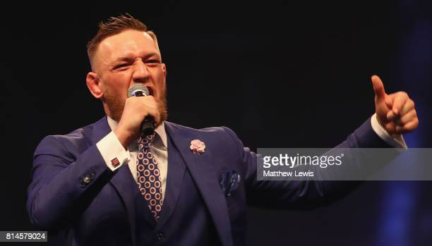 Conor McGregor during the Floyd Mayweather Jr v Conor McGregor World Press Tour at SSE Arena on July 14 2017 in London England