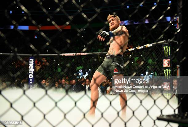 Conor McGregor enters the cage during UFC 229 at the TMobile Arena in Las Vegas Nev Friday Oct 6 2018