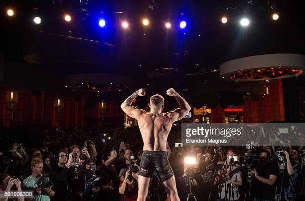 Conor McGregor holds an open workout for media and fans during the UFC 202 Open Workouts at the Red Rock Casino Resort on August 18, 2016 in Las...