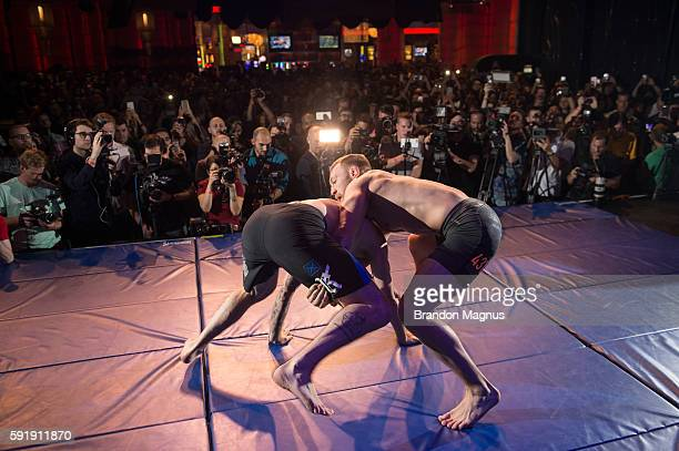 Conor McGregor holds an open workout for media and fans during the UFC 202 Open Workouts at the Red Rock Casino Resort on August 18 2016 in Las Vegas...