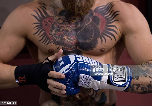 Conor McGregor holds an open workout session for the media at the TUF gym on May 21 2015 in Las Vegas Nevada